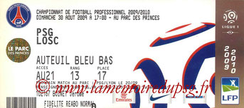 Ticket  PSG-Lille  2008-09