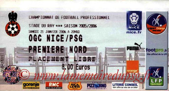 Ticket  Nice-PSG  2005-06