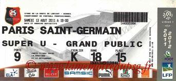 Ticket  Rennes-PSG  2011-12
