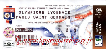 Ticket  Lyon-PSG  2009-10