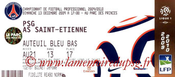 Ticket  PSG-Saint Etienne  2009-10