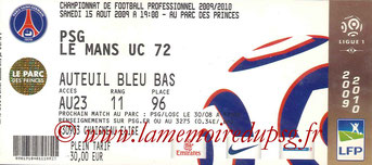 Ticket  PSG-Le Mans  2008-09