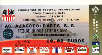 Ticket  AC Ajaccio-PSG  2011-12