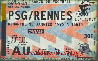 Ticket  PSG-Rennes  1994-95
