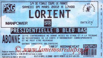 Ticket  PSG-Lorient  2001-02
