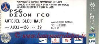 Ticket  PSG-Dijon  2011-12