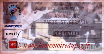 Ticket  Yzeure-PSG  2001-02