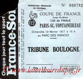 Ticket  PSG-Fontainebleau  1976-77