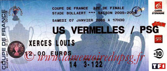 Ticket  Vermelles-PSG  2005-06