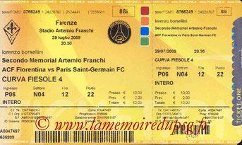 Ticket  Fiorentina-PSG  2008-09