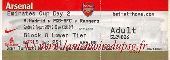 Ticket  Atletico Madrid-PSG  2008-09