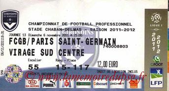 Ticket  Bordeaux-PSG  2011-12