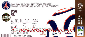 Ticket  PSG-Lyon  2008-09
