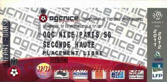 Ticket  Nice-PSG  2011-12