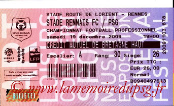 Ticket  Rennes-PSG  2009-10