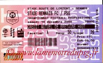 Ticket  Rennes-PSG  2009-10