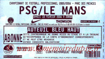 Ticket  PSG-Le Mans  2005-06