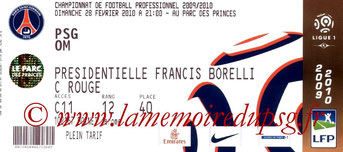 Tickets  PSG-Marseille  2009-10