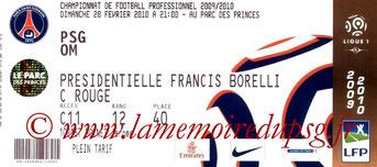 Tickets  PSG-Marseille  2009-10