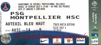 Ticket  PSG-Montpellier  2011-12