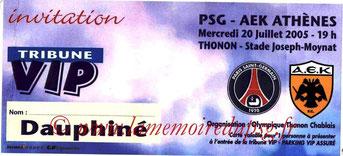 Ticket  PSG-AEK Athènes  2005-06