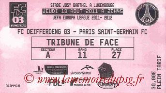 Ticket  Differdange-PSG  2011-12