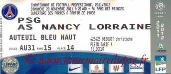 Ticket  PSG-Nancy  2011-12