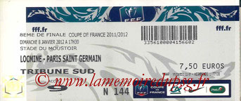 Ticket  SC Locminé-PSG  2011-12