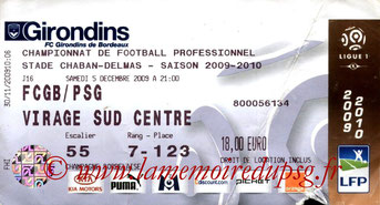 Ticket  Bordeaux-PSG  2009-10