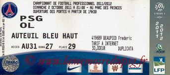 Ticket  PSG-Lyon  2011-12