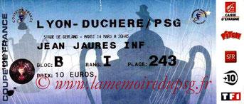 Ticket  Lyon Duchère-PSG  2005-06