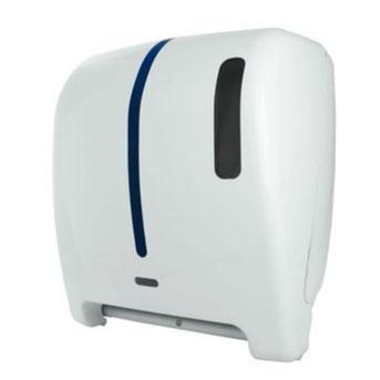 """Despachador / Dispensador de toalla en rollo automático AG27000 Color: Blanco con aplique en azul Dimensiones en milímetros: Alto: 366 Largo: 307 Ancho: 233 Capacidad: 1 rollo de 8"""" / 20.3 cm Contenido por caja: 1 pieza"""