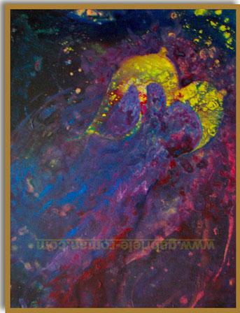 Der Ursprung der Welt No2, Acryl auf Leinwand, 60 x 80 cm. Ein intergalaktischer Busen in der Form zweier Monde mit einem BH-Träger und Brustwarzen verspritzt kosmische Milch, in gelber Farbe.