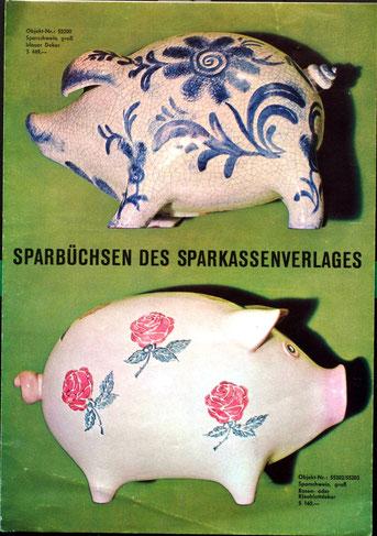 Sparschweine der Sparkasse. Auswahl für die Sparkassen-Filialen um 1960.