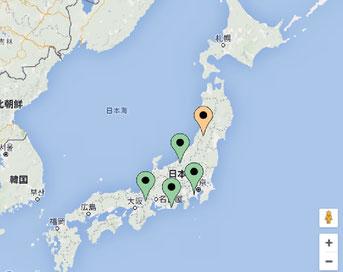 全国の発電所マップ表示画面