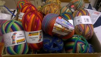 6-fädige Sockenwolle für das Kissenprojekt