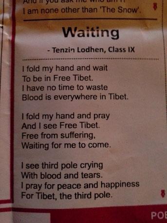 Gedicht von einem Schüler der Petoen School