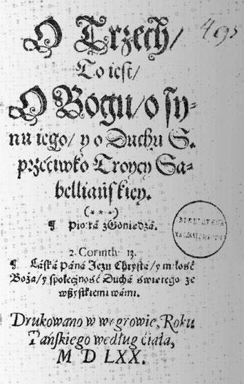 Piotr de Goniądz considère que seule la Bible est la Parole de Dieu et le fondement de la foi. Il est opposé au dogme de la Trinité, Il défend le baptême des adultes en opposition avec le baptême des enfants. Il défend l'égalitarisme, le pacifisme.