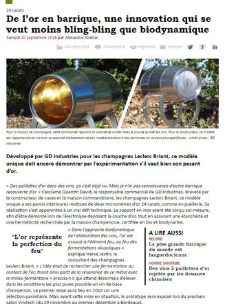 article barrique en or vitisphère gd industries leclerc briant