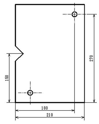 加工原点が左下にあり、ピン位置と端面とV溝に相互の関連がありません。