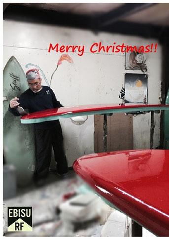 メリークリスマス☆ エビスサンタ 赤いボードを製作中??