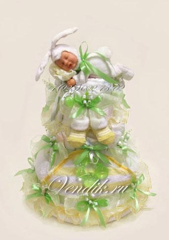 """Торт из памперсов """"Заюшка"""" (из коллекции """"Сладкий сон""""(Весна)"""