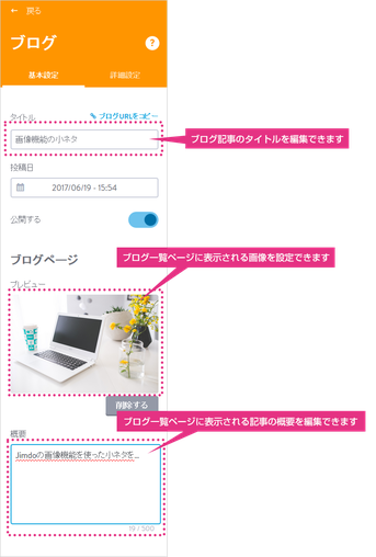 ブログの編集画面
