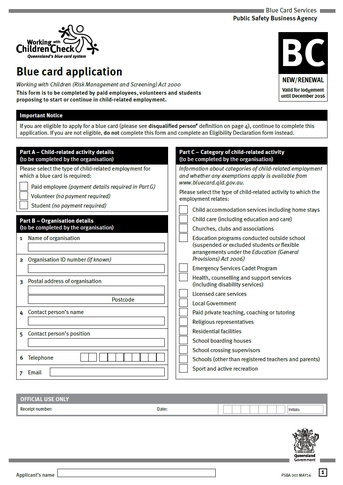 Blue Card Application Form 1