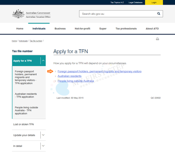ATO - Apply for a TFN