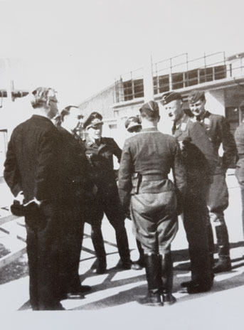 The Bailiff and Attorney-General meeting the first German Officiers to land at Jersey Aieport, 1. July 1940