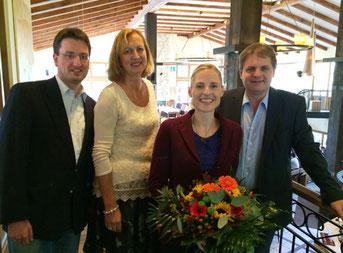 LM-Landesvorsitzender Dr. Wolfgang Selter, LM-Regionalvorsitzende Petra Hermann, Gastrednerin Marie-Christine Ostermann und Ralf Witzel MdL begrüßen die Gäste.
