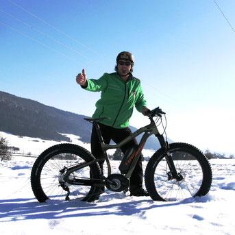 Großer Funfaktor - Mit einem Fatbike im Schnee