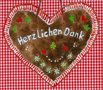 Grußkarte Lebkuchen Herz Herzlichen Dank