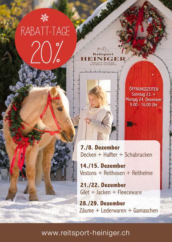 Reitsport Heiniger, Schönbühl - Blogartikel Rabatt-Tage ab dem 7. Dezember bei Reitsport Heiniger
